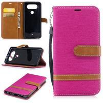 Jean textilní/PU kožené pouzdro na LG Q8 - rose