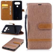 Jean textilní/PU kožené pouzdro na LG Q8 - béžové