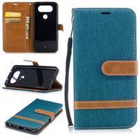 Jean textilní/PU kožené pouzdro na LG Q8 - modrozelené