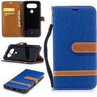 Jean textilní/PU kožené pouzdro na LG Q8 - modré