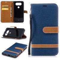 Jean textilní/PU kožené pouzdro na LG Q8 - tmavěmodré