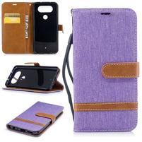 Jean textilní/PU kožené pouzdro na LG Q8 - fialové