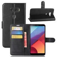 Grain PU kožené pouzdro na mobil LG V30 - černé