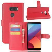 Grain PU kožené pouzdro na mobil LG V30 - červené