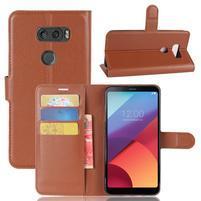 Grain PU kožené pouzdro na mobil LG V30 - hnědé