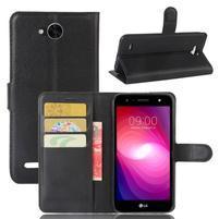 Grain PU kožené zapínací pouzdro na LG X Power 2 - černé