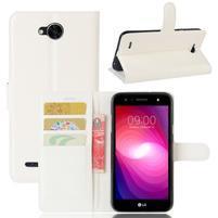 Grain PU kožené zapínací pouzdro na LG X Power 2 - bílé