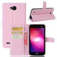 Grain PU kožené zapínací pouzdro na LG X Power 2 - růžové