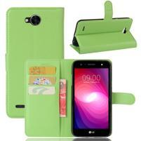 Grain PU kožené zapínací pouzdro na LG X Power 2 - zelené