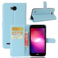 Grain PU kožené zapínací pouzdro na LG X Power 2 - modré