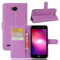 Grain PU kožené zapínací pouzdro na LG X Power 2 - fialové