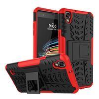 Outdoor odolný obal se stojánkem na LG X Style - červený