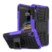 Outdoor odolný obal se stojánkem na LG X Style - fialový