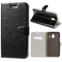 Peněženkové PU kožené pouzdro na Microsoft Lumia 640 XL - černé