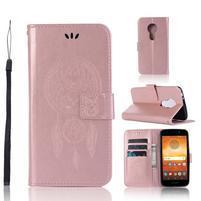 Dream PU kožené peněženkové pouzdro na Motorola Moto E5 - rosegold