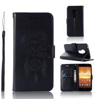 Dream PU kožené peněženkové pouzdro na Motorola Moto E5 - černé