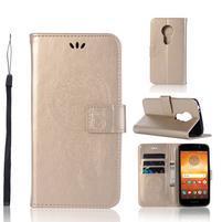 Dream PU kožené peněženkové pouzdro na Motorola Moto E5 - zlaté