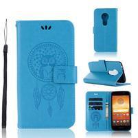 Dream PU kožené peněženkové pouzdro na Motorola Moto E5 - modré