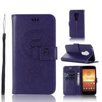 Dream PU kožené peněženkové pouzdro na Motorola Moto E5 - fialové