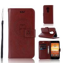 Dream PU kožené peněženkové pouzdro na Motorola Moto E5 - hnědé
