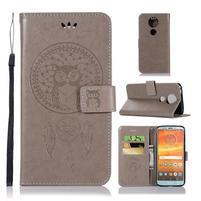 Printy PU kožené peněženkové pouzdro na Motorola Moto E5 Plus - šedé