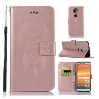 Printy PU kožené peněženkové pouzdro na Motorola Moto E5 Plus - růžovozlaté