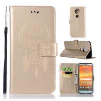 Printy PU kožené peněženkové pouzdro na Motorola Moto E5 Plus - zlaté