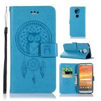 Printy PU kožené peněženkové pouzdro na Motorola Moto E5 Plus - modré