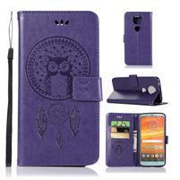 Printy PU kožené peněženkové pouzdro na Motorola Moto E5 Plus - fialové