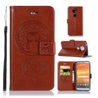 Printy PU kožené peněženkové pouzdro na Motorola Moto E5 Plus - hnědé