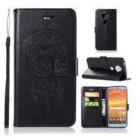 Printy PU kožené peněženkové pouzdro na Motorola Moto E5 Plus - černé