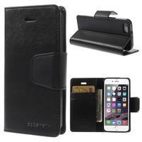 Černé koženkové peněženkové pouzdro na iPhone 5s a iPhone 5