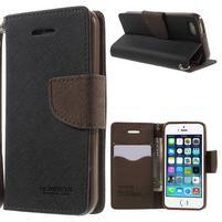 Dvoubarevné peněženkové pouzdro na iPhone 5 a 5s - černé/hnědé