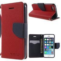 Dvoubarevné peněženkové pouzdro na iPhone 5 a 5s - červené/tmavěmodré