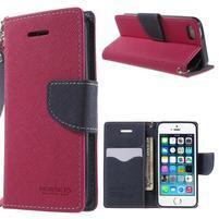Dvoubarevné peněženkové pouzdro na iPhone 5 a 5s - rose/tmavěmodré