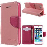 Dvoubarevné peněženkové pouzdro na iPhone 5 a 5s - růžové/rose