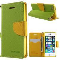 Dvoubarevné peněženkové pouzdro na iPhone 5 a 5s - zelené/žluté