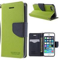 Dvoubarevné peněženkové pouzdro na iPhone 5 a 5s - zelené/tmavěmodré