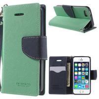 Dvoubarevné peněženkové pouzdro na iPhone 5 a 5s - azurové/tmavěmodré