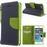 Dvoubarevné peněženkové pouzdro na iPhone 5 a 5s - tmavěmodré/zelené