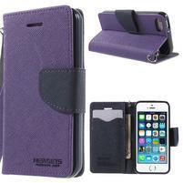 Dvoubarevné peněženkové pouzdro na iPhone 5 a 5s - fialové/tmavěmodré