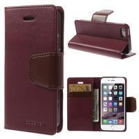 Peněženkové koženkové pouzdro na iPhone 5s a iPhone 5 - vínové