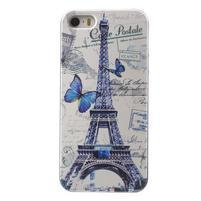 Gelové pouzdro na iPhone 5 a 5s - Eiffelova věž a motýlci