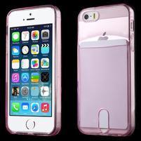 Ultra tenký obal s kapsičkou pro iPhone 5 a 5s - rose