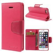 Dvoubarevné peněženkové pouzdro na iPhone 5 a 5s - rose/růžové