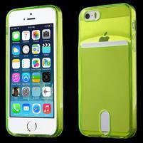Ultra tenký obal s kapsičkou pro iPhone 5 a 5s - zelenožlutý