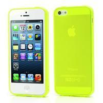 Gelový transparentní obal na iPhone 5 a 5s - zářivě žlutý