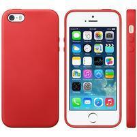 Gélový obal s textúrou na iPhone 5 a 5s - červený