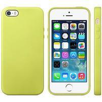 Gelový obal s texturou na iPhone 5 a 5s - žlutozelený