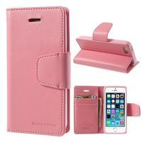 Peněženkové koženkové pouzdro na iPhone 5s a iPhone 5 - růžové